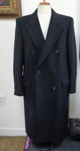 EUC -ABITAL, MADE IN ITALY CHARCOAL GRAY 100% WOOL DOUBLE BREASTED COAT-SIZE 42R