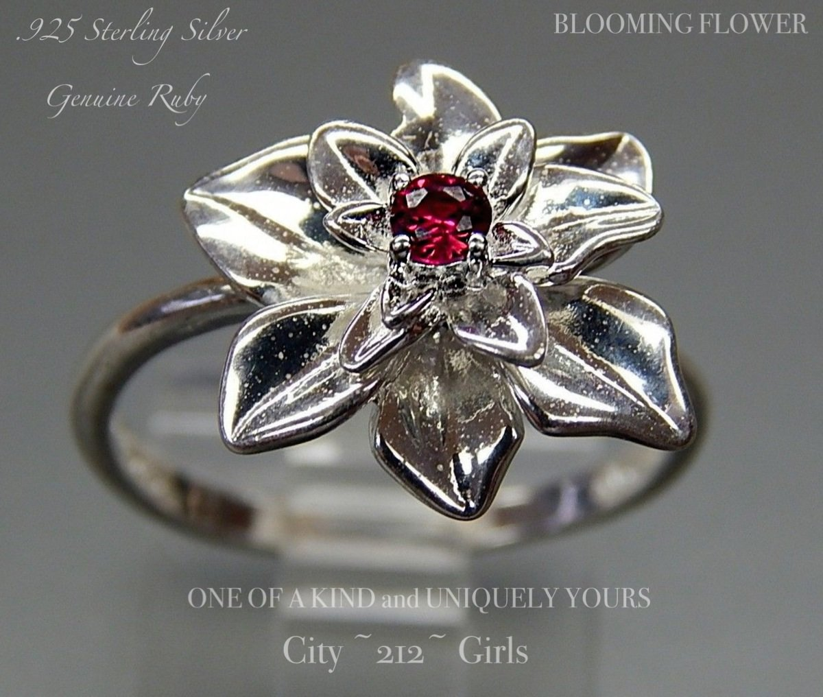 925 nvc 8 blooming flower sterling silver ruby