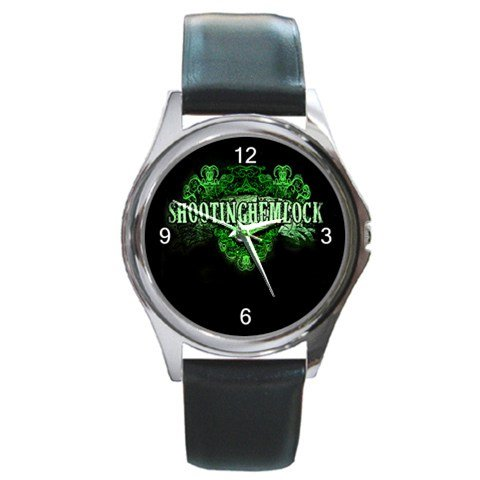 Shooting Hemlock Round Silver Metal Watch 2