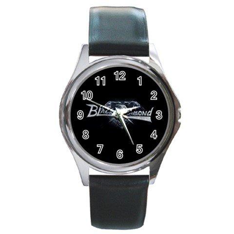 Black Diamond Round Silver Metal Watch