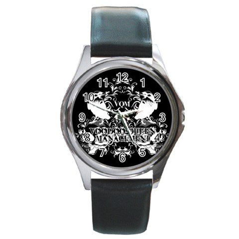 Voodoo Queen Management Round Silver Metal Watch