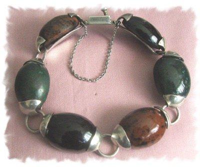 Divine Vintage Jade & Onyx Sterling TASCO / TAXCO Bracelet