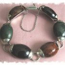 Divine Vintage Jade & Onyx Sterling TASCO / TAXCO Bracelet