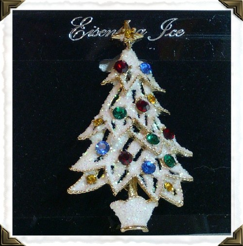 Eisenberg Ice Christmas Tree White Frosted Pin