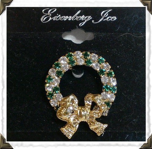 Brooch/Pin ~ EISENBERG ICE Xmas Wreath