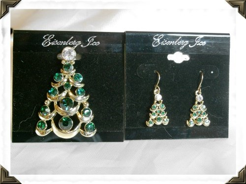 Eisenberg Ice Christmas Pin & Earrings