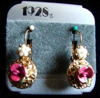 1928 Jewelry ~ Victorian Styled Pierced Earrings in Pearls & Rose