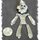 Articulated Dangly Silver Metal CLOWN Brooch