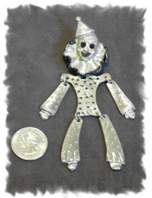 Articulated Dangly Silver Metal CLOWN Brooch
