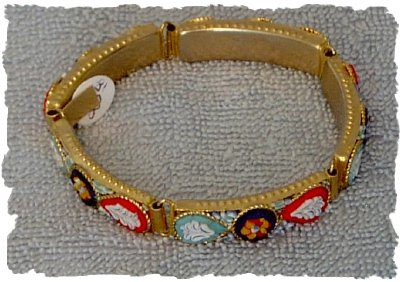 Red & Blue Italian Micro Mosaic Red White and Blue Bracelet