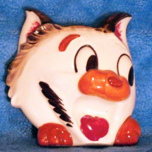 Comical Cat Wall Pocket Made in Japan c.1950s