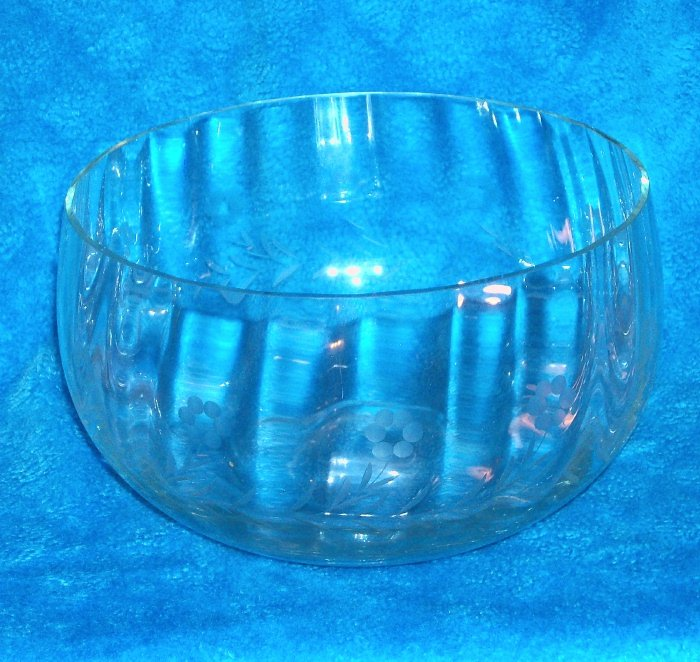 Crytal Salad Bowl / Punch Bowl with Etched Flowers