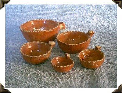 Mexican Redware Pottery - Vintage Nested Bowls & Measure Set