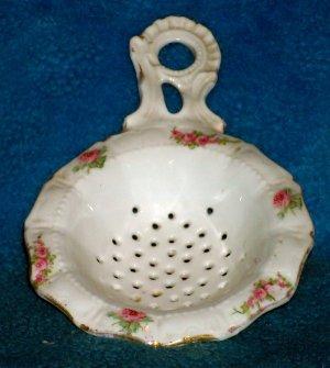 Antique Victorian Porcelain Strainer - Pink Roses