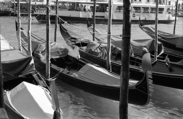 """A series of gondolas""  Venice, Italy"