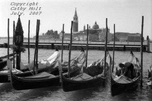A row of gondolas, Venice, Italy