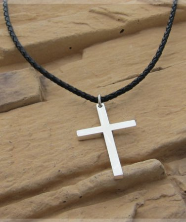 Sterling silver solid cross pendant,cool&shine