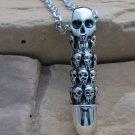 Retro thai silver Solid Skull Bullet pendant,