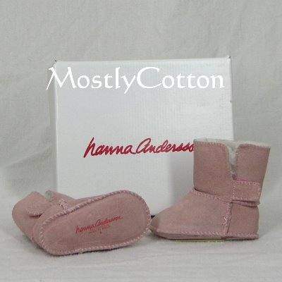 Hanna Andersson BABY Shearling Booties SLIPPERS size Large 17-24m NIB New In Box PALE PEONY Pink