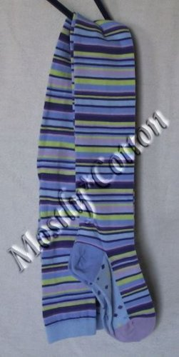 HANNA ANDERSSON Girls VINTAGE BLUE Multi STRIPS & STRIPES Cotton TIGHTS size 130-140 NwT New