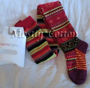 Hanna Andersson Girls INDIA RED SPIRAL Cotton TIGHTS size 130-140 NwT New in Packaging