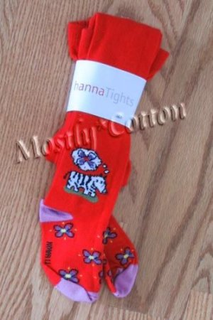 HANNA ANDERSSON Girls Nowali RED Zebras Cotton TIGHTS 60 NwT New in Packaging