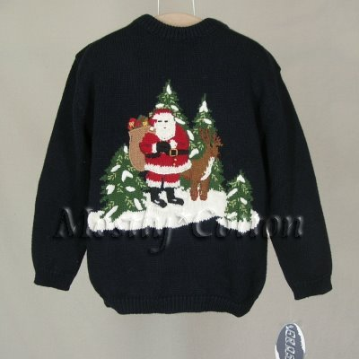 FROST boys NAVY BLUE Christmas SANTA Holiday PULLOVER SWEATER 5 NwT New with Tags