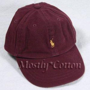 Polo Ralph Lauren BOYS Baseball Cap Hat BURGUNDY WINE MAROON 4 5 6 7 MEDIUM New