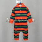 NwT POLO RALPH LAUREN boys ORANGE STRIPED Long Sleeve KNIT ROMPER COVERALL 24m New With Tags