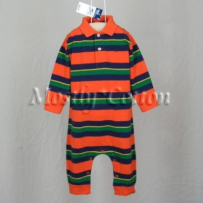 NwT POLO RALPH LAUREN boys ORANGE STRIPED Long Sleeve KNIT ROMPER COVERALL 12m New With Tags