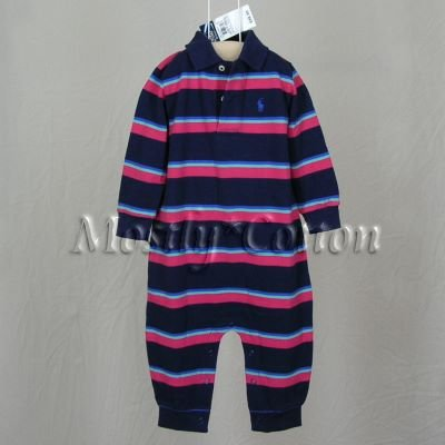 NwT POLO RALPH LAUREN boys NAVY STRIPED Long Sleeve KNIT ROMPER COVERALL 18m New With Tags
