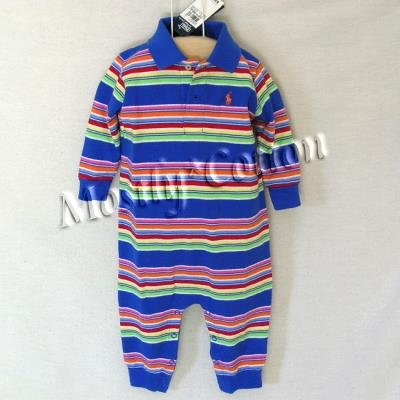 NwT POLO RALPH LAUREN boys MULTI STRIPED Long Sleeve KNIT ROMPER COVERALL 12m New With Tags