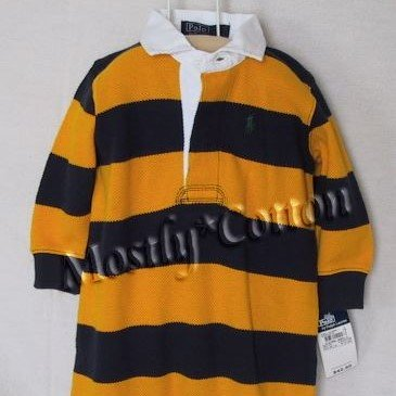 NwT POLO RALPH LAUREN boys YELLOW BLUE STRIPED Long Sleeve MESH KNIT RUGBY ROMPER COVERALL 9m New