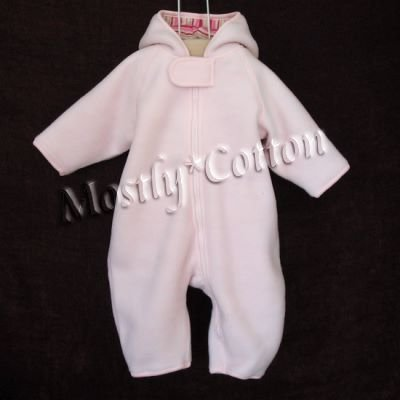NwT Hanna Andersson Girls PINK lined Nordic Fleece Snowsuit Bunting Size 60 2-6m New With Tags