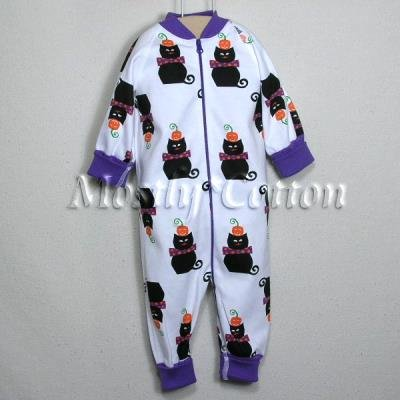 Hanna Andersson Organic Cotton BLACK CATS HALLOWEEN Zippers Prints Coverall Sleeper 50 0-3m NB