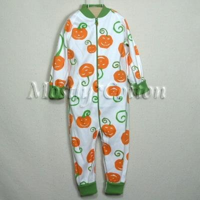 Hanna Andersson Organic Cotton PUMPKINS Jack O Lantern HALLOWEEN Zippers Prints Sleeper 70 5-12m