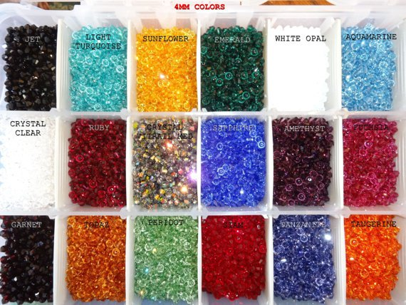 US Shipper 3MM Xilion 5328 Swarovski Crystal Bicone Beads, 48, Mix your Colors