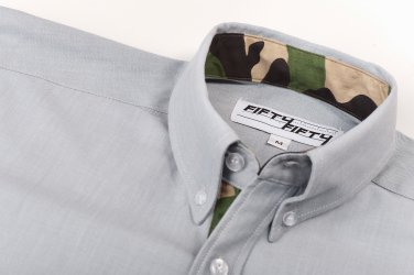 Grey Camo Lined Oxford Shirt - Large