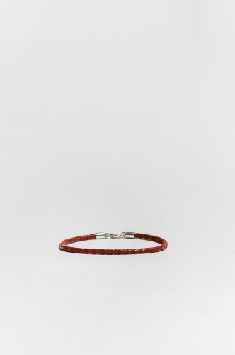 Medium Red Braided Leather Bracelet Sterling Silver Clasp