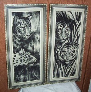 VINTAGE LITHO'S BLACK & WHITE ART WILD CATS RETRO