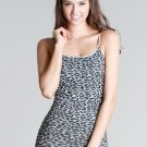 NEW Leopard Animal Print Tunic Length Tank in Metal Gray One Size
