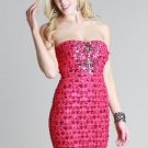 Sexy Embellished Lace Tiered Dress in Magenta Size Small and Medium