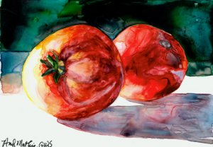 2 Red Tomatoes Daily Painting by Andy Mathis