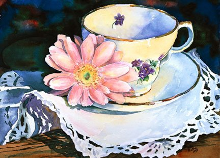 Teacup with Gerbera Daisy Greeting Card Set of 4