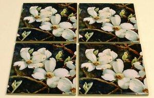 White Dogwood Coaster Set of 4