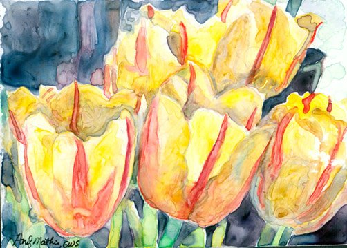 Yellow Tulips- watercolor on Yupo