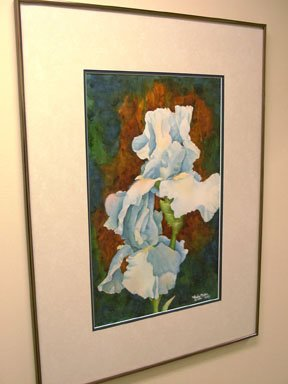 Beverly's Blue Iris- framed watercolor, 15 x 22 inches