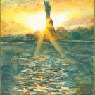 Lady Liberty at Sunset- watercolor on textured clayboard