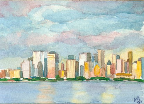 Manhattan Skyline- watercolor on clayboard