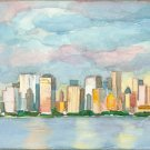 Manhattan Skyline- watercolor on clayboard